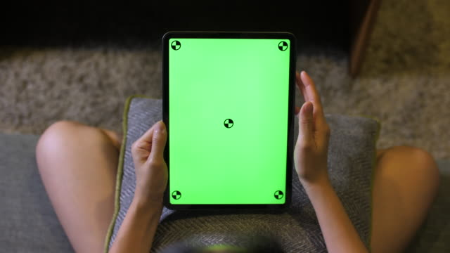 woman using chroma key screen digital tablet - sharing stock videos & royalty-free footage
