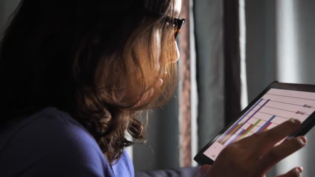 vídeos de stock, filmes e b-roll de mulher usando tablet digital à noite para a análise de projeto empresarial - planejamento