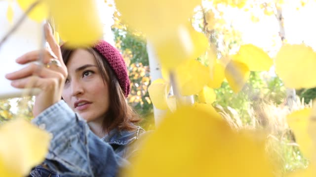 vídeos de stock, filmes e b-roll de woman using digital tablet to take picture - jaqueta jeans