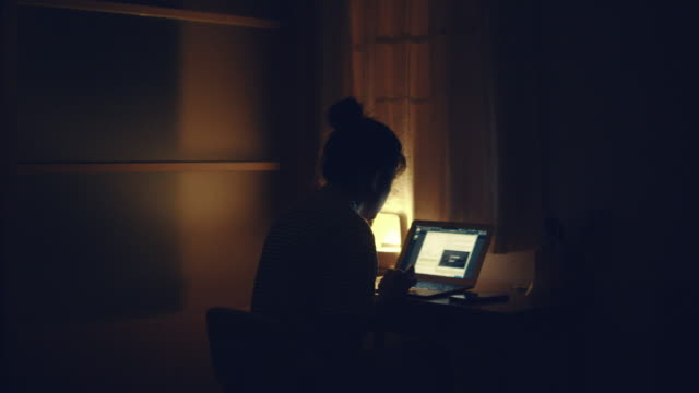 woman using laptop at night - lampada elettrica video stock e b–roll