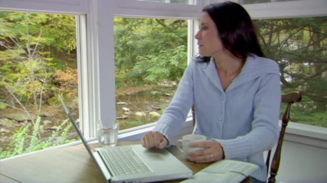 MS, Woman using laptop in country house, Phoenicia, New York, USA