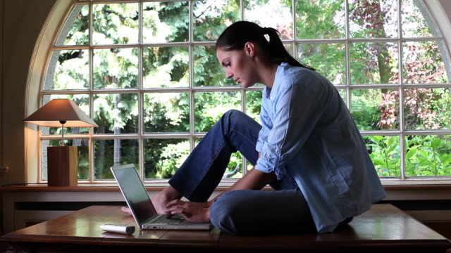 ms woman using laptop sitting on table by window / brussels, brabant, belgium - sash window stock videos and b-roll footage