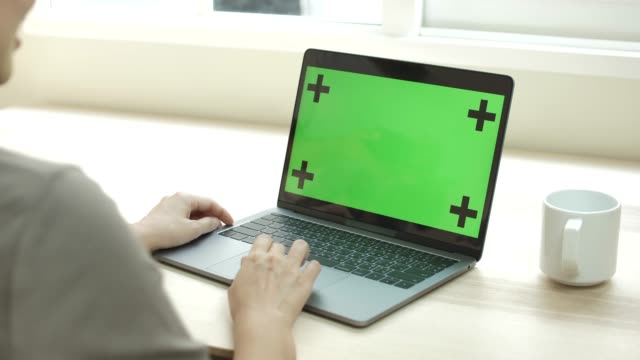 woman using laptop with blank display chroma key - laptop video stock e b–roll