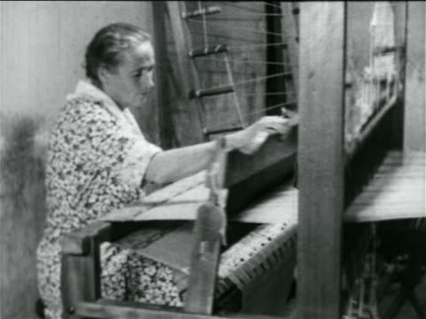 woman using loom in wpa weaving project / documentary - 1934 stock videos & royalty-free footage