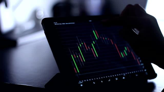 woman using Tablet for analysis stock