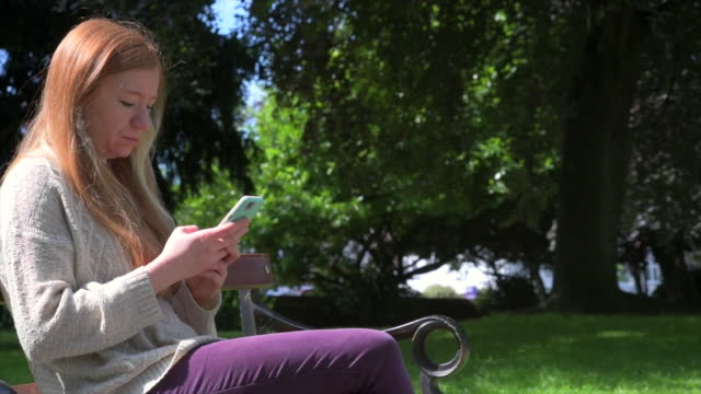 Woman Using Technology In Park