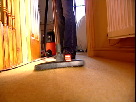 Woman vacuums domestic carpet