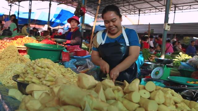 MS POV SLO MO Woman vendor cutting vegetables in market / Vientiane, Laos