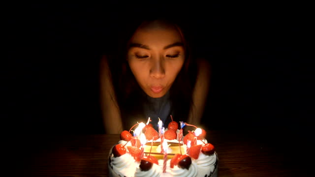 woman - birthday candles stock videos and b-roll footage