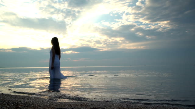 a woman walk along the beach at sunset - slim stock videos & royalty-free footage