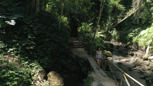 TS: Woman walking across footbridge in jungle