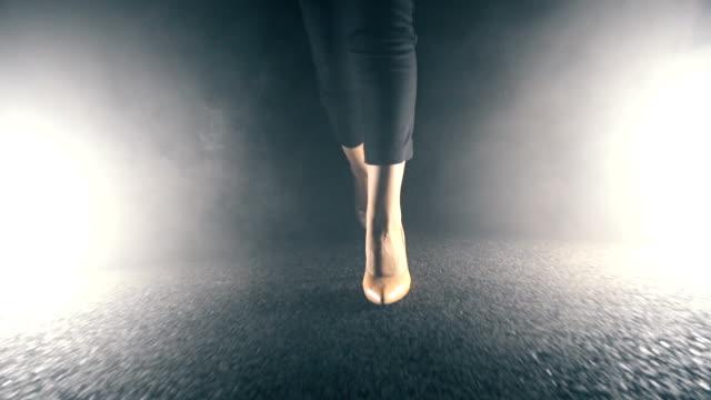 woman walking at night - high heels stock videos & royalty-free footage