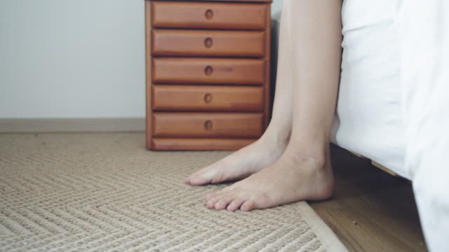woman walking barefoot at home - barefoot stock videos & royalty-free footage