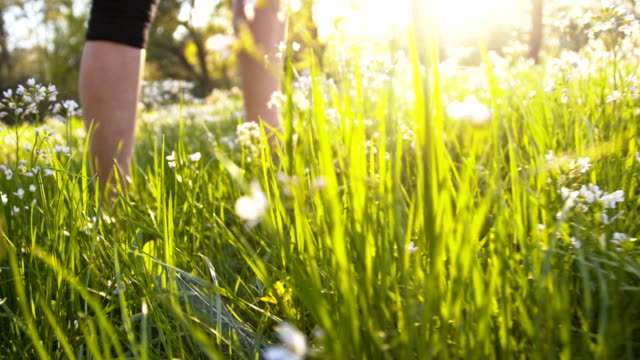 stockvideo's en b-roll-footage met slo mo woman walking barefoot in spring meadow - blootvoets