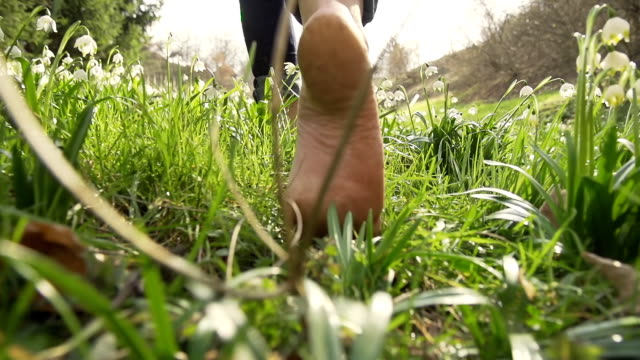 stockvideo's en b-roll-footage met hd super slow-mo: woman walking barefoot through the grass - low angle view