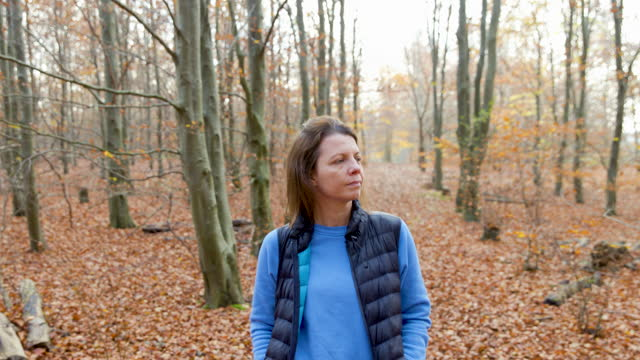 woman walking in autumnal woodland - one mature woman only stock videos & royalty-free footage
