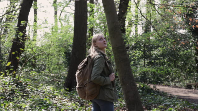 Woman walking in forest with backpack, looking up.