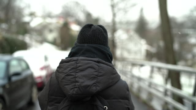 woman walking in snowy weather - warm clothing stock videos & royalty-free footage
