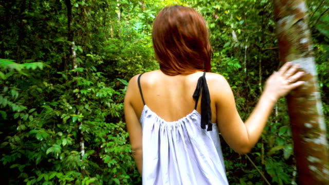 woman walking in the jungle. admiring trees and plants - dress stock videos & royalty-free footage