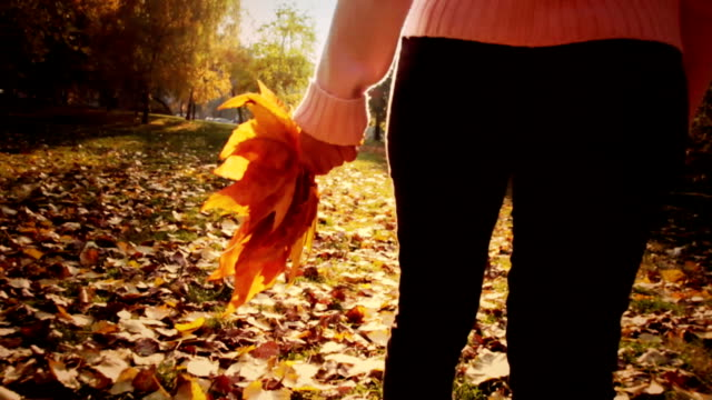 woman walking in the park - autumn falls stock videos & royalty-free footage