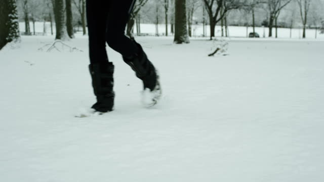 Woman walking in the snow