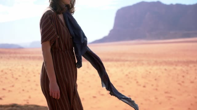 woman walking in wadi rum desert - dress stock videos & royalty-free footage