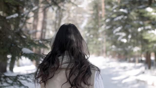 woman walking in winter/ debica/ poland - ohrenschützer stock-videos und b-roll-filmmaterial