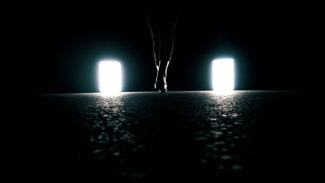 woman walking into dark night - high heels stock videos & royalty-free footage
