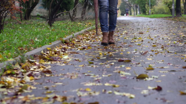 Woman walking on a footpath in autumn day