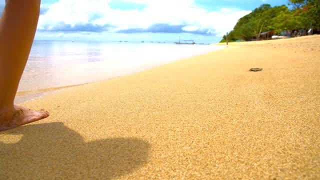 vídeos de stock, filmes e b-roll de slo mo mulher andando na praia de bali - raw footage