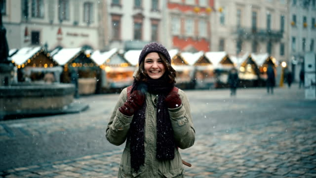 woman walking on christmas market - front view stock videos & royalty-free footage