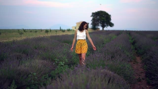 frau zu fuß auf lavendelfeld in der provence - region provence alpes côte d'azur stock-videos und b-roll-filmmaterial