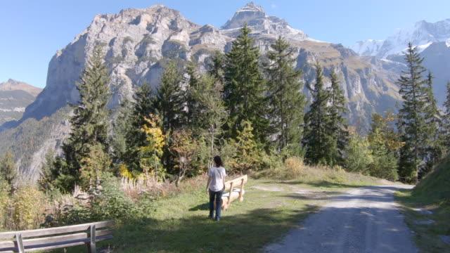 vidéos et rushes de femme qui marche sur la route pavée de paysage alpin - une seule femme d'âge mûr