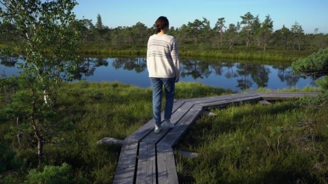 vídeos de stock, filmes e b-roll de mulher andando no pântano na estônia - lago