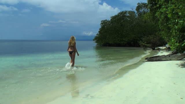 woman walking on the lagoon along a desert tropical island - desert island stock videos & royalty-free footage
