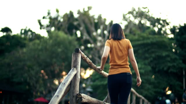woman walking on the wooden bridge - mae hong son province stock videos and b-roll footage