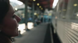 Woman walking on Train Station Platform