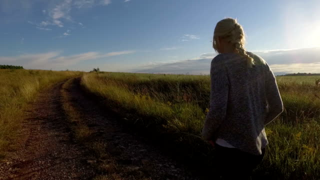 Woman walking. Slow motion