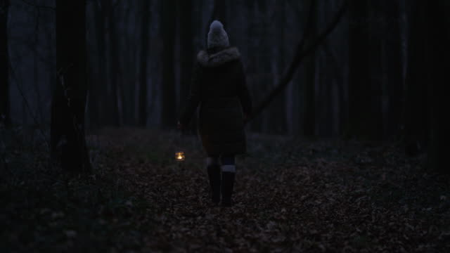 R/F Woman walking through a cold forest with lantern