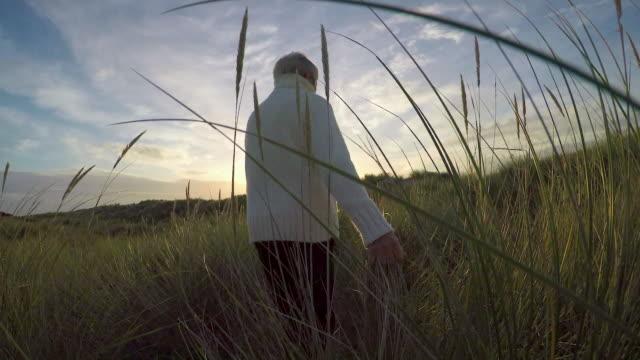 woman walking through marram grass - marram grass stock videos & royalty-free footage