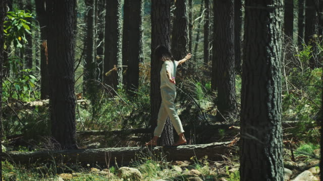 woman walking through the forest - balance stock videos & royalty-free footage