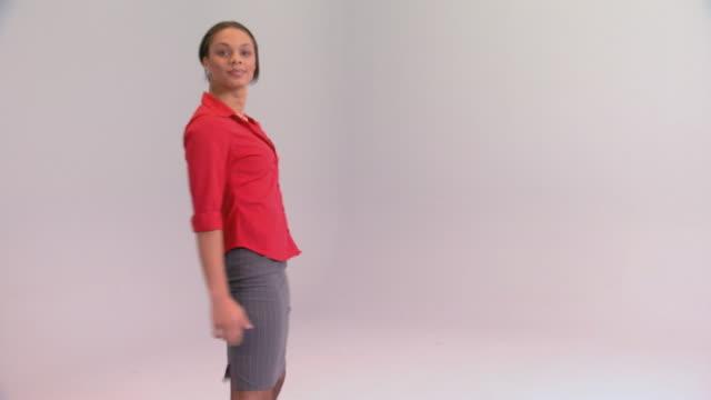 Woman walking toward camera