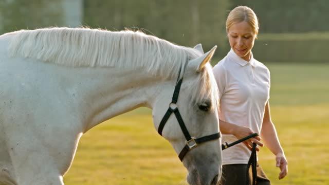 stockvideo's en b-roll-footage met slo mo ts vrouw lopen met witte paard in de natuur - alleen één mid volwassen vrouw