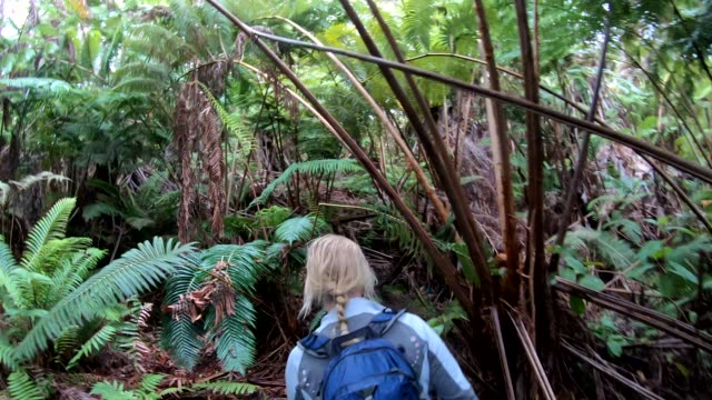 Woman walks along jungle path, wearing backpack