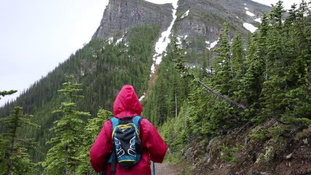 女性は暴風雨で、登山道に沿って歩く - レインコート点の映像素材/bロール