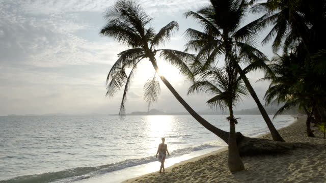 Woman walks at sunrise on beach with palm trees