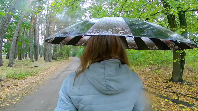 a woman walks in rainy weather. - parasol stock videos & royalty-free footage