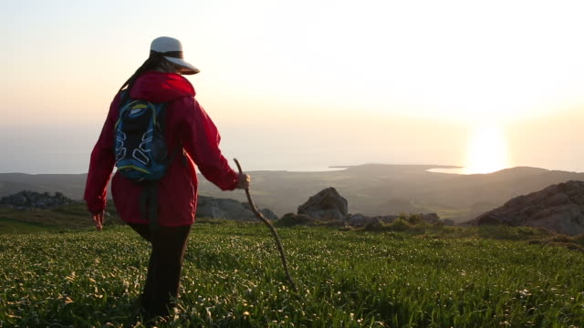 woman walks into green meadow holding pole, sunrise - republic of cyprus stock videos and b-roll footage