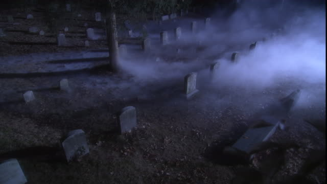 a woman walks through a misty cemetery at night. - cemetery stock videos & royalty-free footage