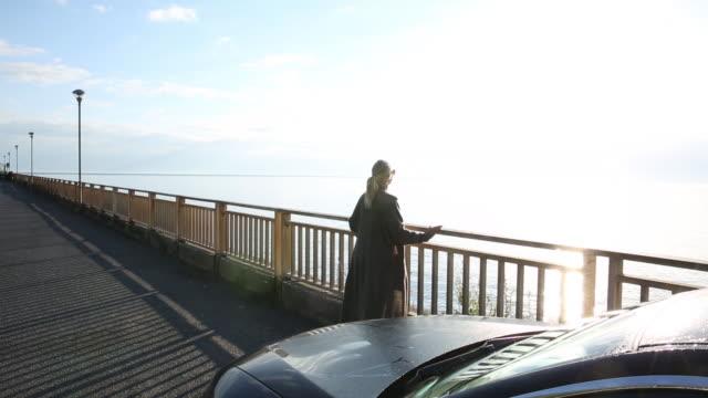 vídeos y material grabado en eventos de stock de woman walks to railing from car, look out to sea - cabello recogido